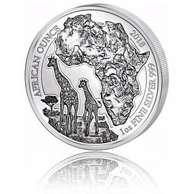 1 Unze Silbermünze 999/1000 Ruanda Giraffe PP 2018