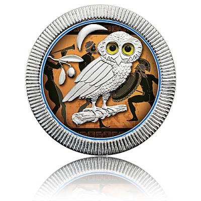1 Unze Silbermünze Eule von Athen farbig 2. Motiv (2018)