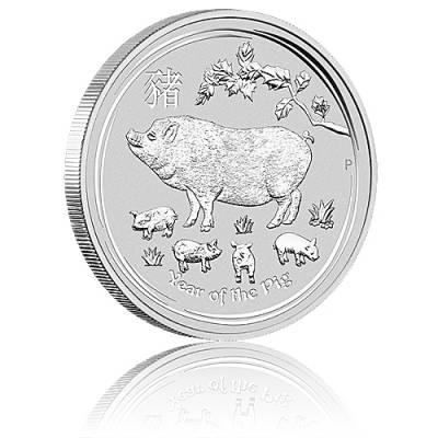 Australien Lunar Schwein 1oz Silbermünze (2019)