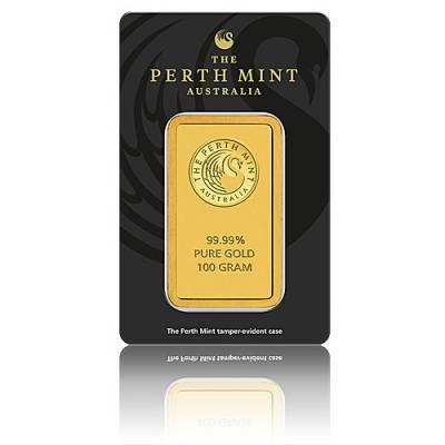 100 gramm Goldbarren Perth Mint - Känguru 999,9/1000