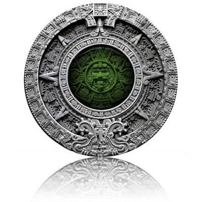 2 oz Silbermünze Aztec Calendar High Relief Antik Finish Niue Island (2019)