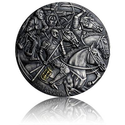 3 Unzen Silbermünze Four Horsemen of Apokalypse - Antik Finish 2019