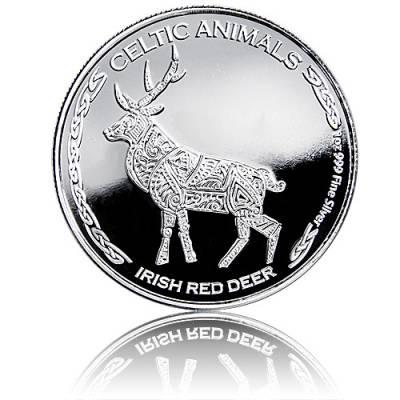 1 Unze Silbermünze Celtic Animals Irish Red Deer 1. Motiv (2019)
