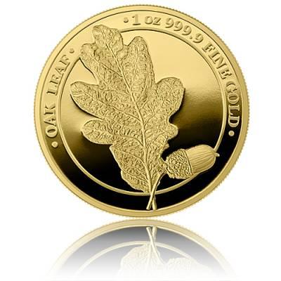 1 Unze Gold Oak Leaf Eichenblatt Germania Mint 5 Mark Polierte Platte (2019) 1. Ausgabe