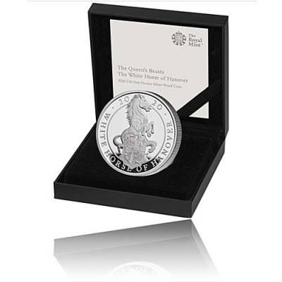 Silbermünze 1 oz Queens Beast White Horse of Hanover Polierte Platte 2020