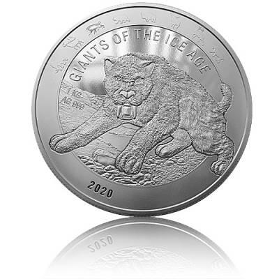 1 kg Silbermünze Giganten der Eiszeit - Säbelzahntiger (2020)