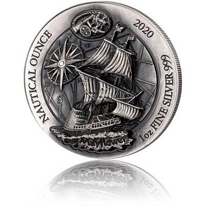 1 Unze Silbermünze Ruanda Nautical Ounce Serie -  Mayflower Antik Finish High Relief 2020