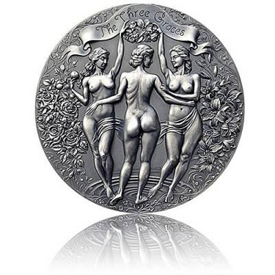 Silbermünze 2 oz Drei Grazien Celestial Beauty Antik Finish 2020