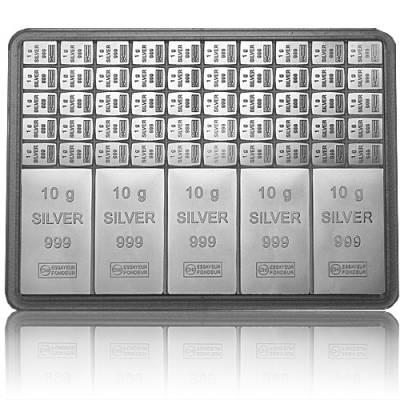 5 x 10 + 50 x 1 gramm Silber Tafelbarren