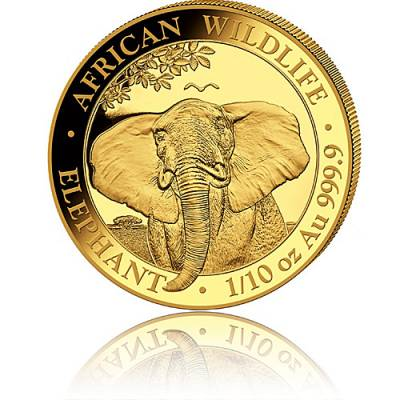 Goldmünze 1/10 oz Somalia Elefant 2021