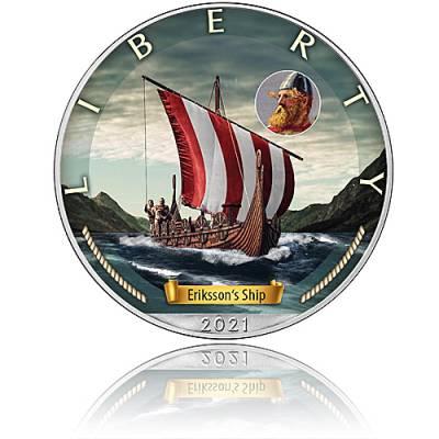 Silbermünze Zeitalter der Segel Erikssons Ship 3. Ausgabe 2021