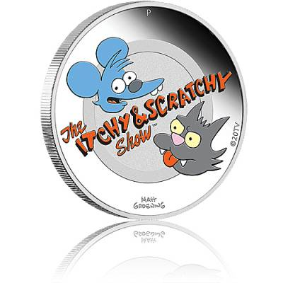 Silbermünze 1 oz The Simpsons Itchy & Scratchy PP farbig 2021
