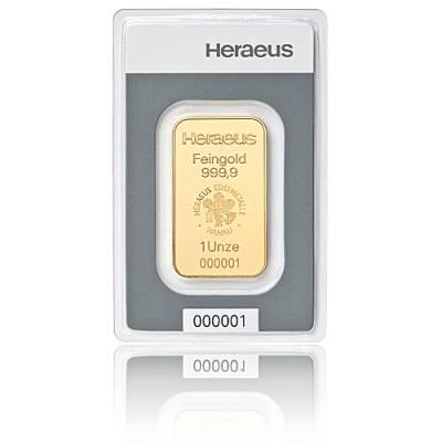 1 Unze Heraeus - Goldbarren 999,9/1000