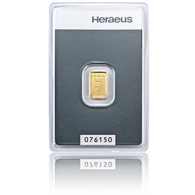 1 gramm Heraeus - Goldbarren 999,9/1000