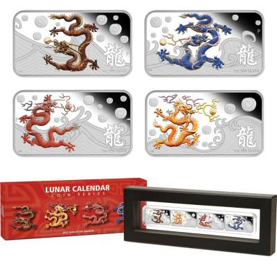 Jahr des Drachen 1 oz Silver Rectangular Proof 4 Coin-Set