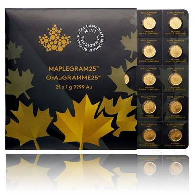 25x 1g Goldmünze Maple Leaf (Maplegram)