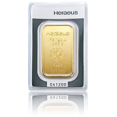 50 gramm Heraeus - Goldbarren 999,9/1000