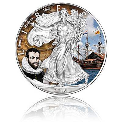 Silver Eagle Entdecker-Serie Henry Hudson 1 Unze Silber farbig (2016)