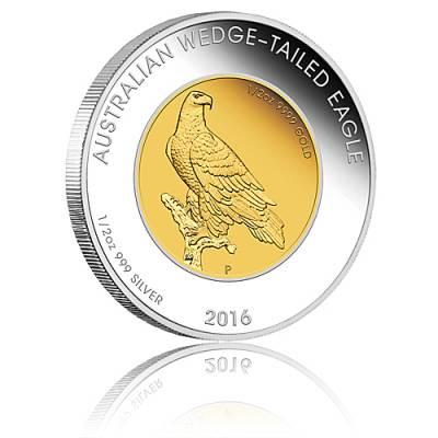 Australian Bi-Metall Wedge-Tailed Eagle 1/2 oz Gold 1/2 oz Silver Proof (2016)