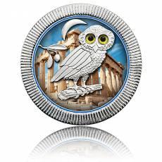 1 Unze Silbermünze Eule von Athen farbig 1. Motiv (2018)