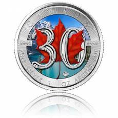 1 Unze Silbermünze 30 Jahre Jubiläums - Maple Leaf 2018 (farbig)