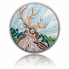 1 Unze Silbermünze Canadian Mosaics - Caribou Karibu PP 2018 1. Motiv