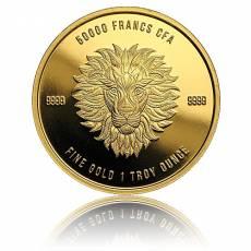 1 oz Goldmünze Afrika Tchad Mandala Löwe 2018 1. Motiv