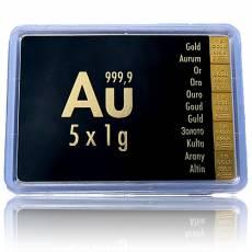5 x 1 gramm Gold - Tafelbarren