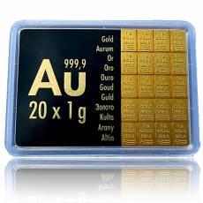 20 x 1 gramm Gold - Tafelbarren