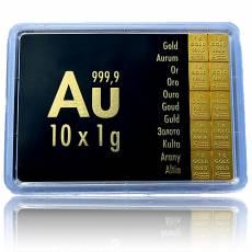 10 x 1 gramm Gold - Tafelbarren
