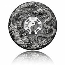 2 Unzen Silbermünze 2 $ - Drache & Phönix Antik Finish 2019