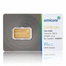 2,5 gramm Goldbarren Umicore 999,9/1000