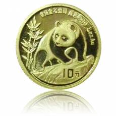 China Panda 1/10 Unze Gold (1990) orginal Folie