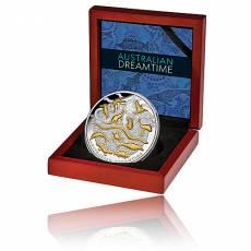 5 Unzen Silbermünze Australian Dreamtime - PP High Relief Teilvergoldet