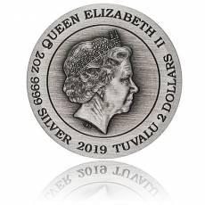 2 Unzen Silbermünze 2 $ - Double Dragon Antik Finish 2019