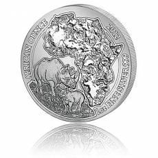 1 Unze Silbermünze 999/1000 Ruanda Nashorn privy F15 2012 (in orginal F15 Viereck-Münzkapsel)