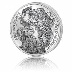 1 Unze Silbermünze 999/1000 Ruanda Elefant privy F12 2009 (in orginal F12 Viereck-Kapsel)