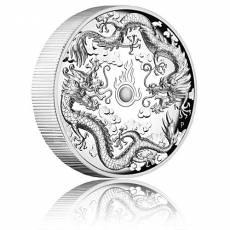 2 oz Silbermünze Australien Doppel Drache - High Relief - polierte Platte (2019)