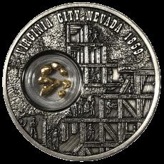 1 oz Silbermünze Nevada Gold- und Silberrausch - Antik Finish mit Nuggets (2019)