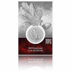 Silbermünze Oak Leaf Eichenblatt WMF-Spezial im Blister Germania Mint 5 Mark (2019) 1. Ausgabe