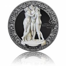Silbermünze 2 oz Eternal Sculptures Die drei Grazien Proof 2020