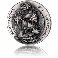 1 Unze Silbermünze Ruanda Nautical Ounce Serie -  Mayflower Antik Finish High Relief 2020