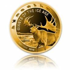 1 Unze Goldmünze Giganten der Eiszeit - Riesenhirsch polierte Platte (2019)