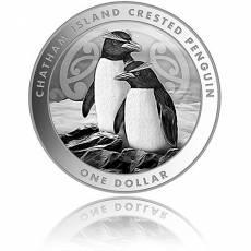 Silbermünze Crested Penguin - Hauben Pinguin Neuseeland 2020 1. Ausgabe