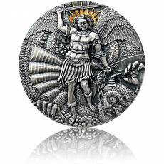 Silbermünze 3 oz St. Michael and the Dragon Apocalypse Antik Finish 2020