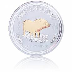 Silbermünze Lunar I Schwein gilded 2007