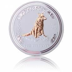 Silbermünze 1 oz Lunar I Hund gilded 2006