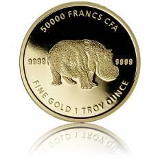 1 oz Goldmünze Afrika Tchad Mandala Hippo 2020 4. Motiv