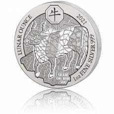 1 Unze Silbermünze Ruanda Lunar Ochse 2021