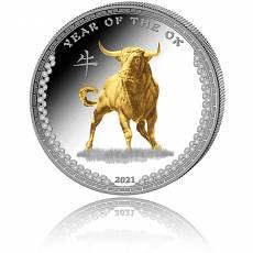 Silbermünze 1 oz Jahr des Ochsen/Year of the ox PP teilvergoldet 2021